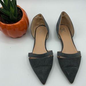 TG gray d'orsay pointy toe flats sz 6